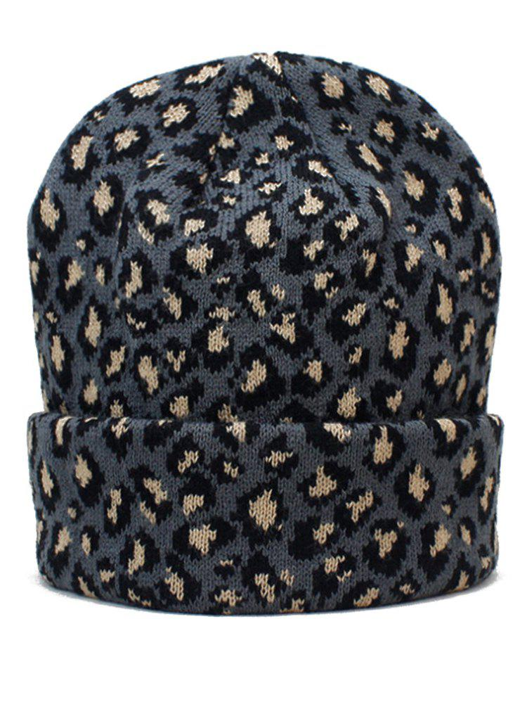 Buy Outdoor Leopard Print Flanging Beanie