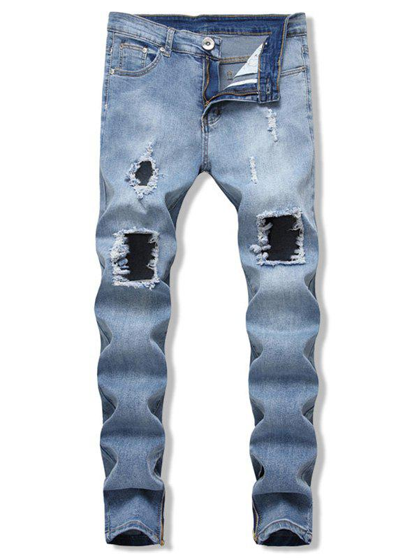 Affordable Ripped Side Zip Design Jeans