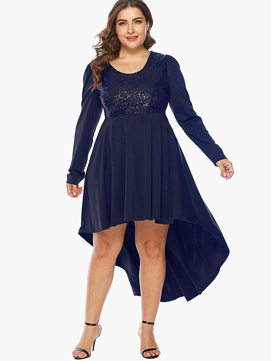 Cheap Sequin Embellished Plus Size High Low Party Dress