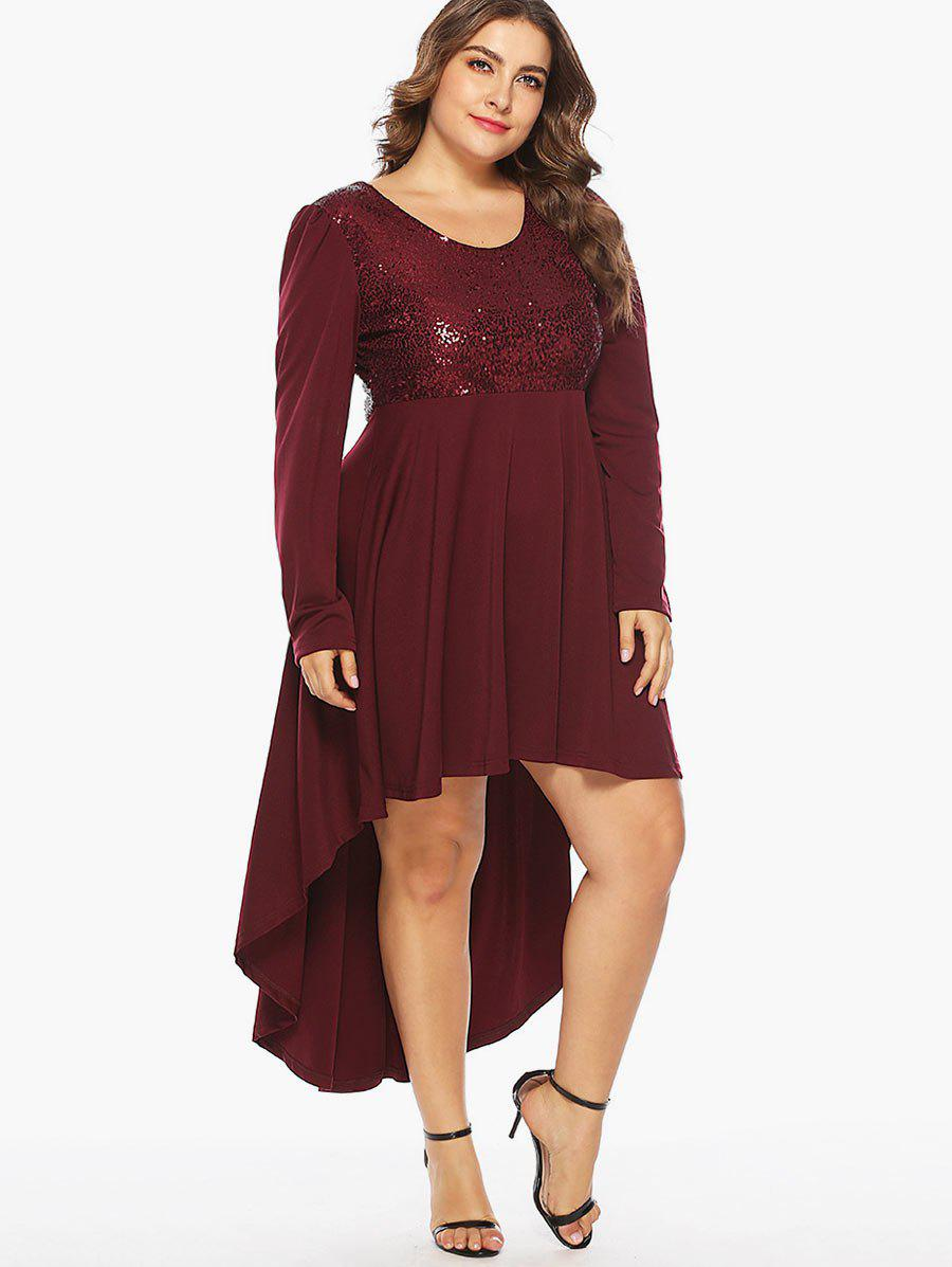 Hot Sequin Embellished Plus Size High Low Party Dress