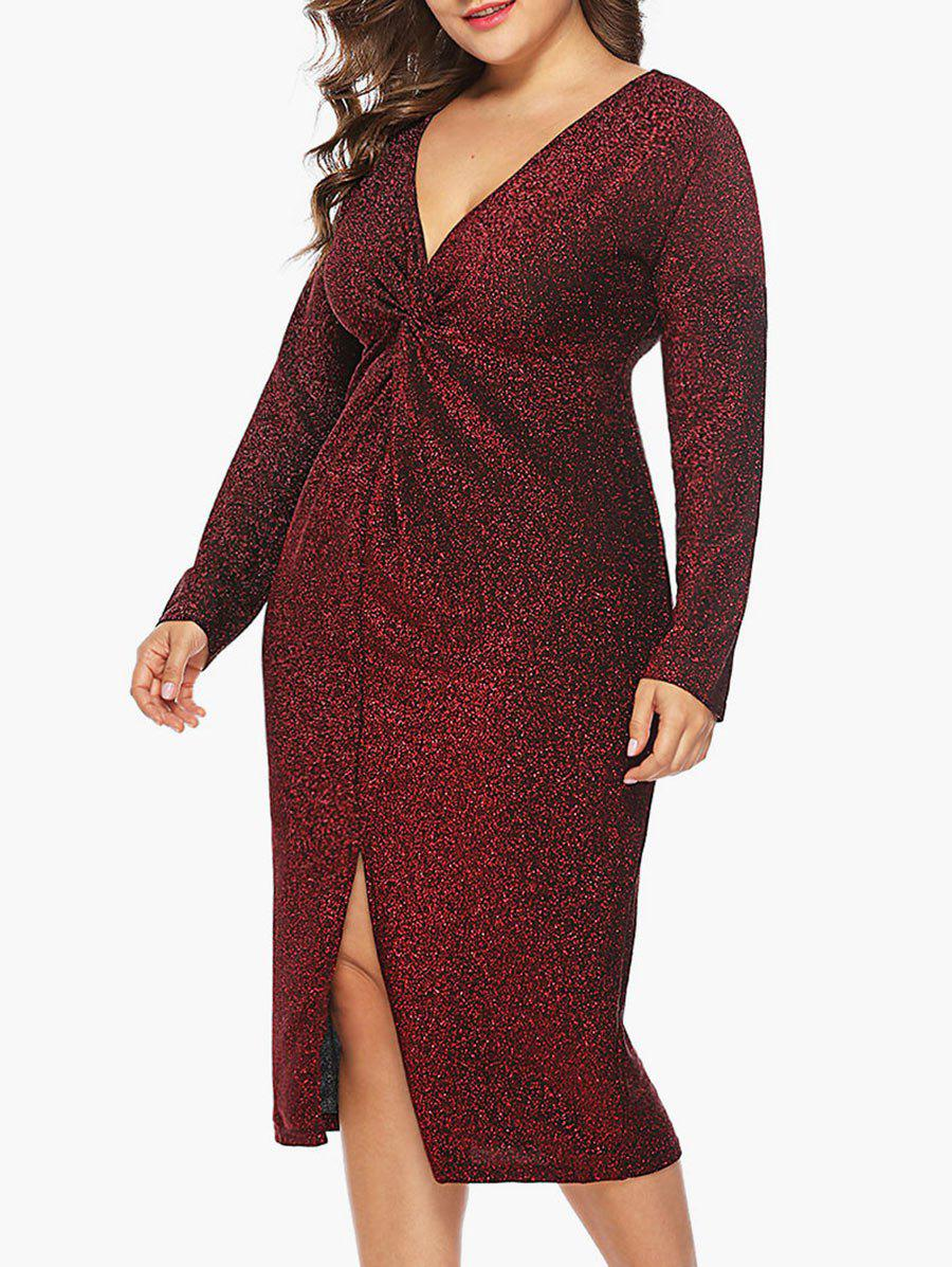 Hot Plus Size Shining Twist Front Bodycon Dress