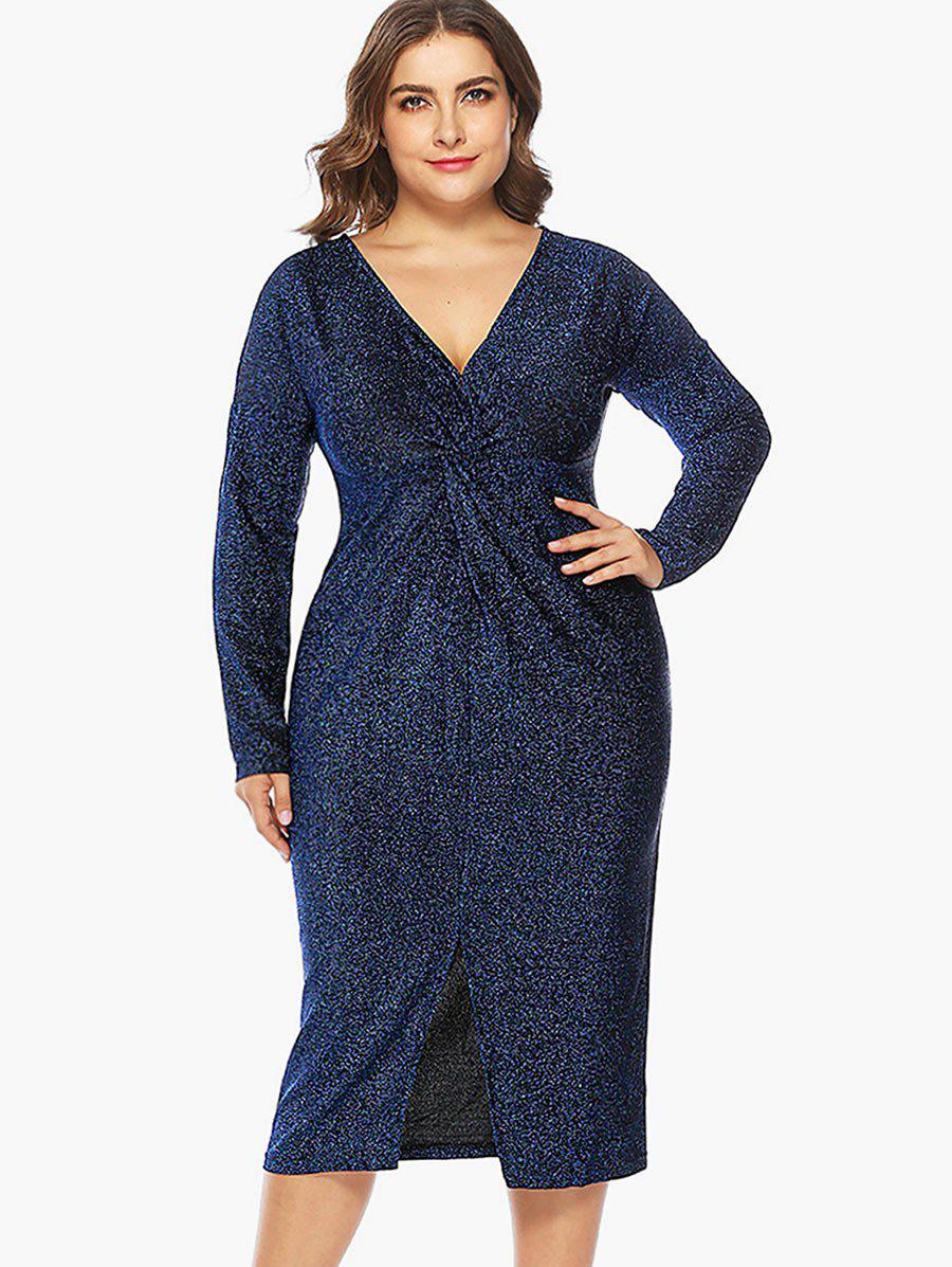 Chic Plus Size Shining Twist Front Bodycon Dress