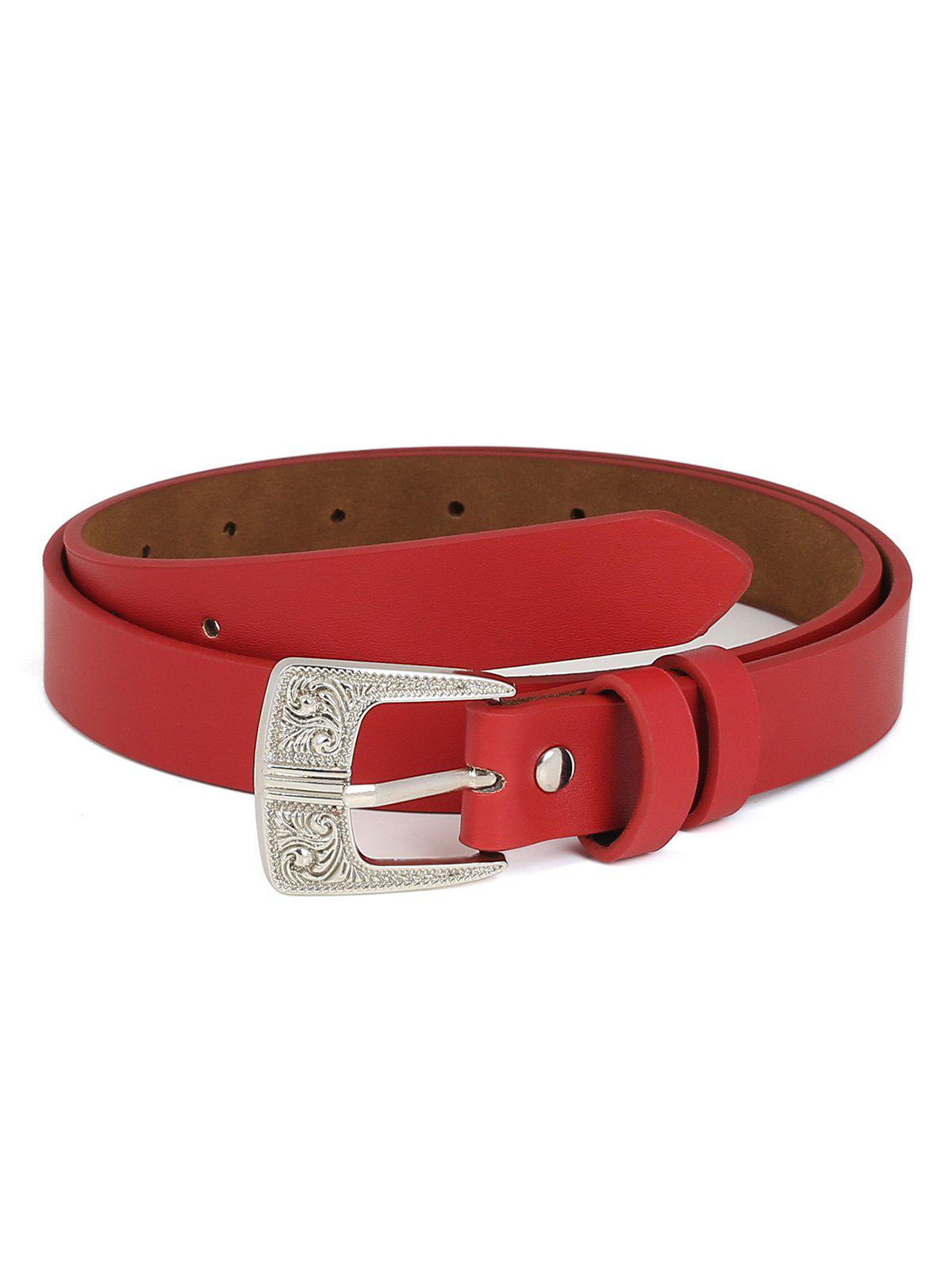 Online PU Leather Carving Pin Buckle Waist Belt