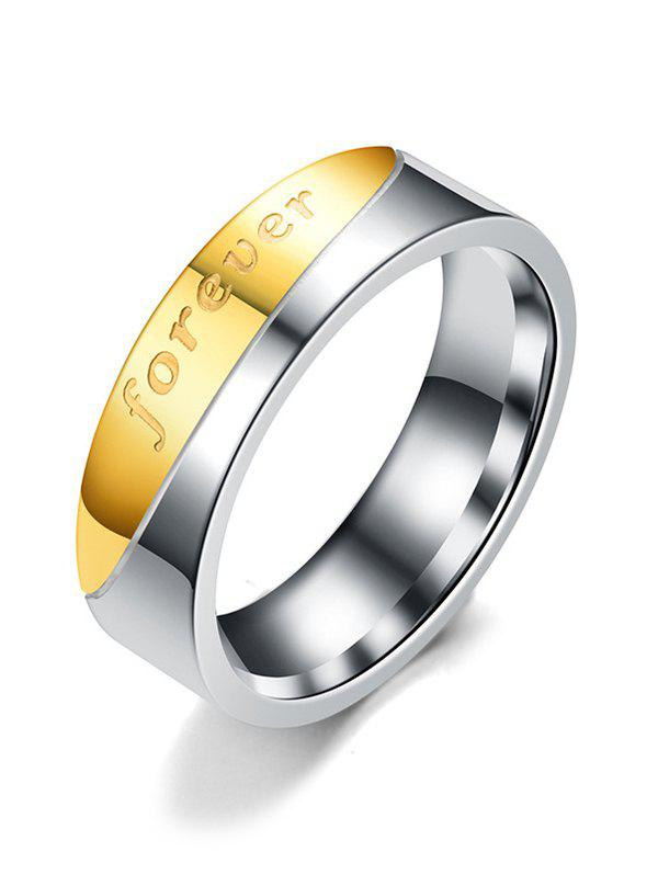 Chic Stainless Steel Letter Inlaid Couple Ring