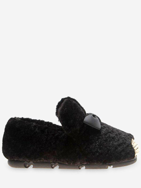 Trendy Bowknot Faux Fur Loafer Flats