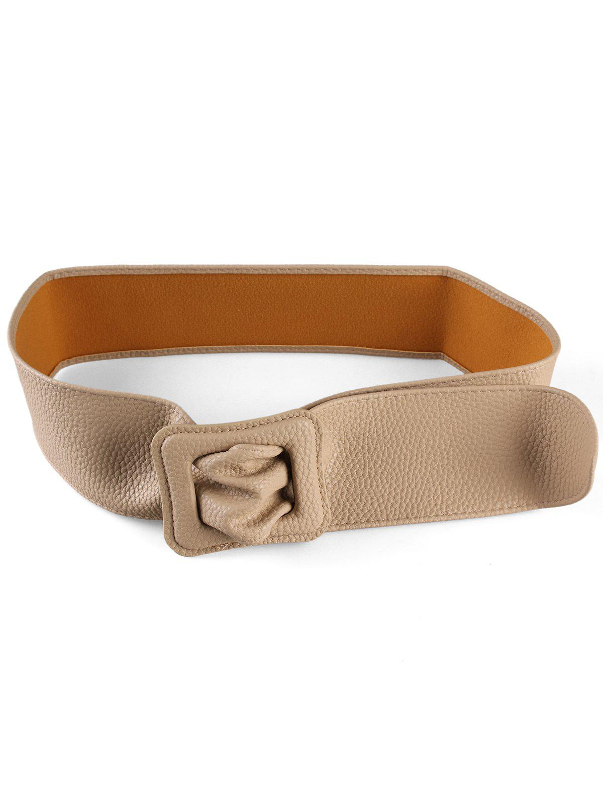 New PU Leather Square Buckle Wide Belt