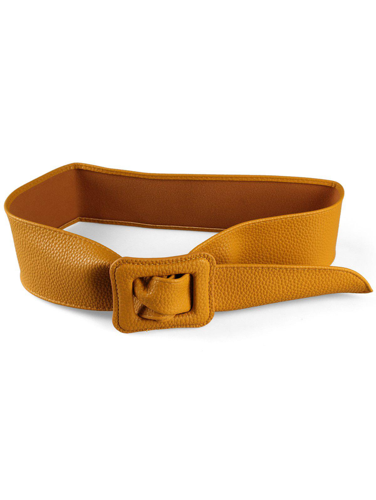Buy PU Leather Square Buckle Wide Belt