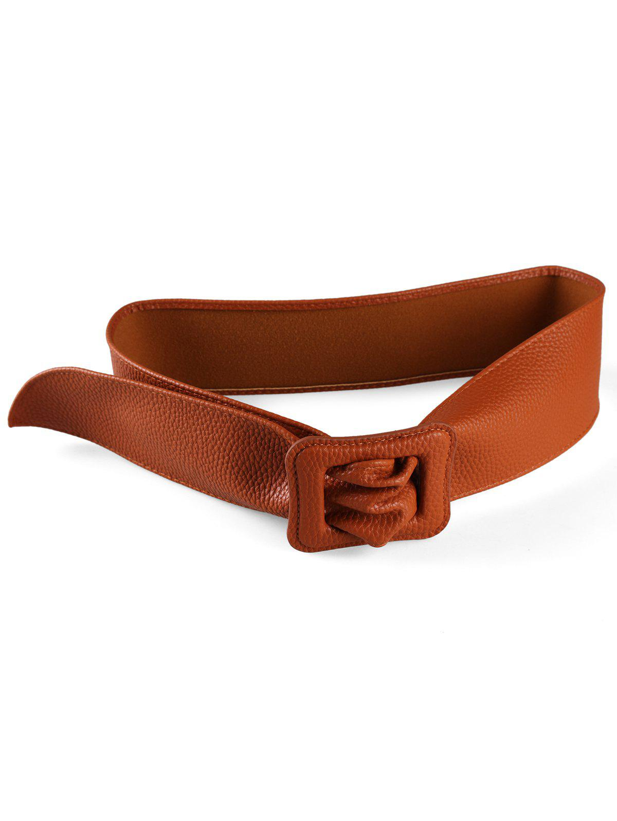 Shops PU Leather Square Buckle Wide Belt