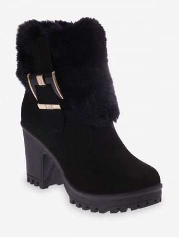 Buckle Faux Fur Decor Mid Calf Boots