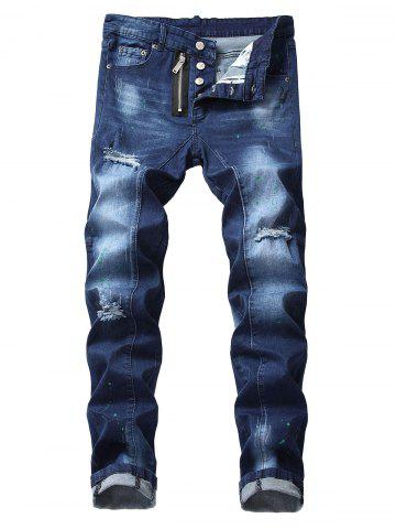 Zip Fly Destroyed Cuffed Jeans
