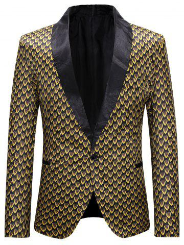 Allover Print Single Button Lapel Collar Blazer