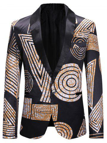 Geometry Pattern Single Button Blazer