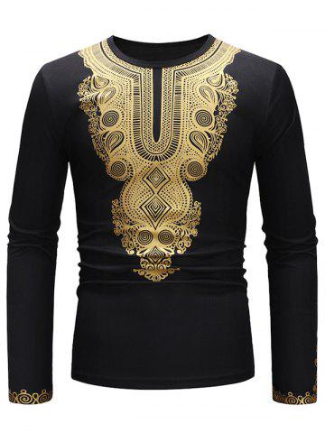 Golden Geometry Pattern Long Sleeve T-shirt