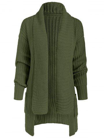 Asymmetric Open Front Knit Cardigan