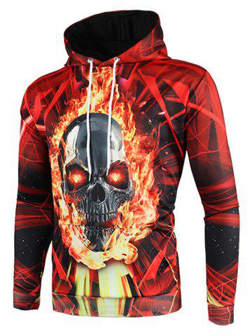 3D Fire Skull Lines Printed Pullover Hoodie, Lava red