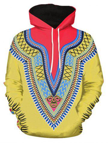 Tribal 3D Print Pullover Hoodie - YELLOW - 2XL
