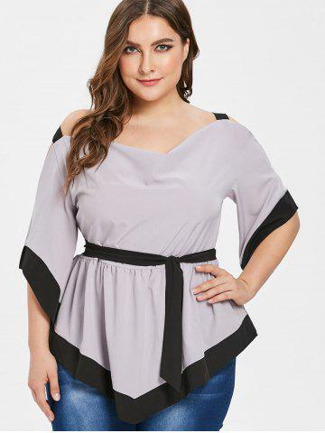 Two Tone Plus Size Belted Open Shoulder Blouse