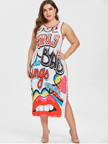 Lip and Letter Pattern Plus Size Maxi Dress