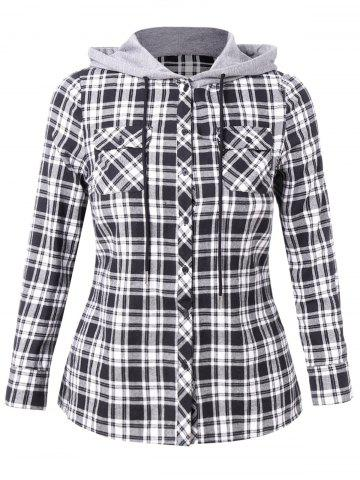 Plus Size Plaid Hooded Shirt with Pockets