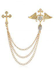 Metal Hollowed Cross Wings Heart Rhinestone Brooch -