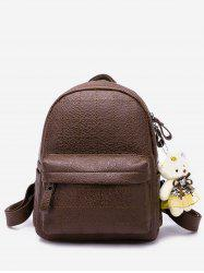 College Style Bear Doll Pendant PU Backpack -