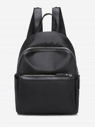 Casual Solid Zipper Nylon Backpack -