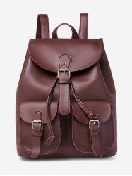 Solid Pockets Hasp College Style PU Backpack -