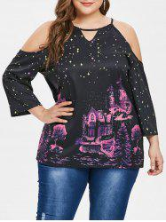 Open Shoulder Castle and Star Pattern Plus Size Blouse -