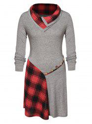 Plus Size Plaid Patchwork Buttons Funnel Collar Dress -