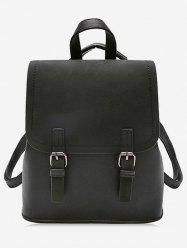 Color Block Double Hasp PU Backpack -