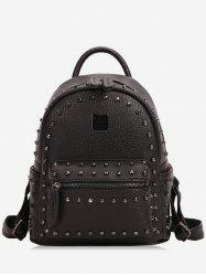 Zipper PU Rivets Backpack -