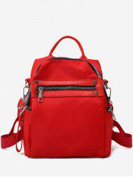 Solid Zipper Backpack with Rivets -