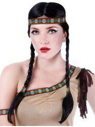 Long Center Parting Braids Synthetic Native American Hairstyle Wig -