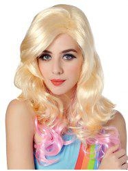 Long Inclined Bang Wavy Colormix Party Synthetic Wig -
