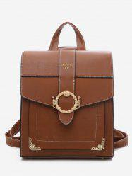 Metal Monkey Buckle Overlap Backpack -