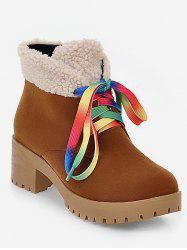 Plus Size Colorful Lace Fuzzy Decor Ankle Boots -