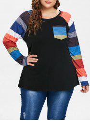 Breast Pocket Plus Size Raglan Sleeve T-shirt -
