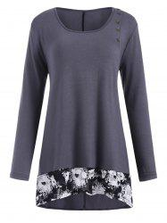 Plus Size Buttoned Insert High Low T Shirt -
