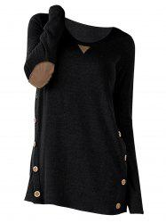Elbow Patch Plus Size Button Embellished T-shirt -
