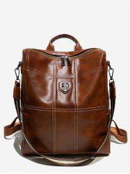 College Style Faux Leather Zipper Backpack -
