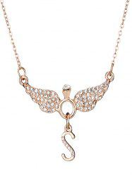 Rhinestone Letter S Wing Shape Necklace -