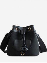 Wide Belt Dull Polish Bucket Bag -