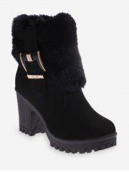 Buckle Faux Fur Decor Mid Calf Boots -