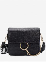 Metal Ring Design Wide Belt Crossbody Bag -