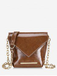 Metal Strip Design Chain Crossbody Bag -