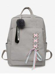 Ribbon Embellished Zipper Backpack -