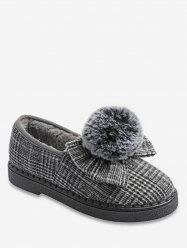 Fuzzy Ball Bowknot Plaid Flats -