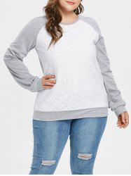 Plus Size Two Tone Pullover Sweatshirt with Lace -
