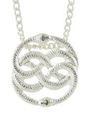 Double Snake Shape Hollowed Metal Necklace -