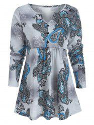 Paisley Print Half Button Swing Top -